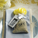 Mini Linen Drawstring Pouch with Vintage Love Print (Set of 12)
