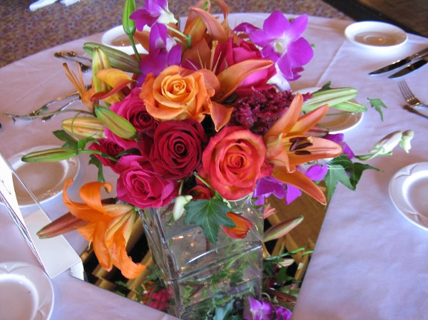 Orange pink purple red yellow centerpiece fall spring - Red and yellow centerpieces ...