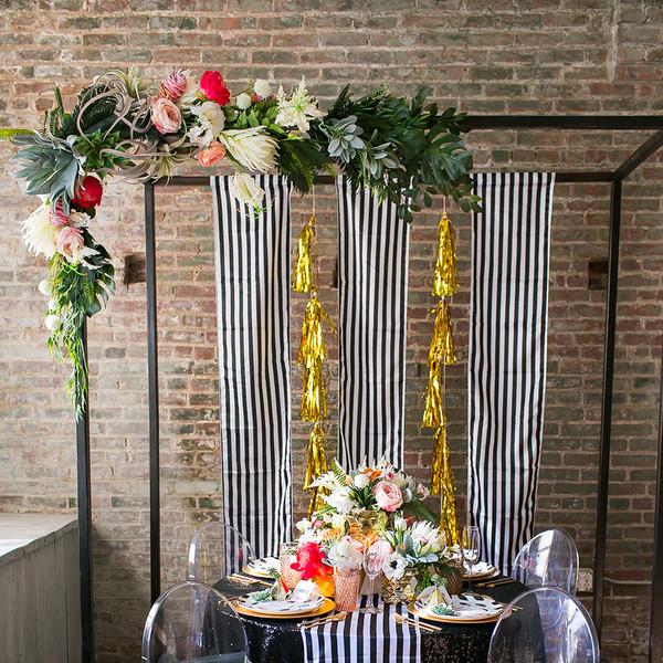 Diy Indoor Wedding Arch: Hip Modern Black Gold Green Orange Pink Altar/Arch
