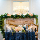 130x130 sq 1464987678881 sweetheart table blue linen  fireplace
