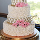 130x130 sq 1445556259594 pink flowered and gold ruffle cake