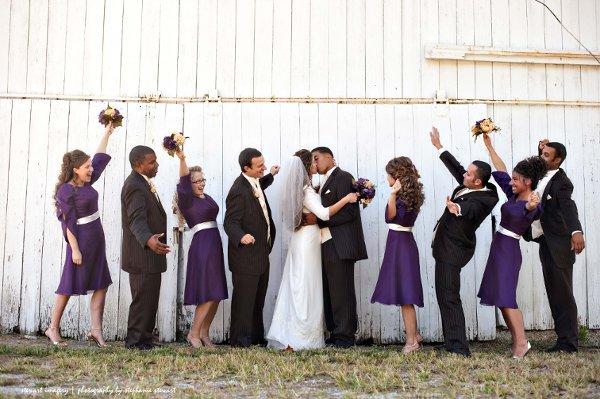 Brown Ivory Purple Beading Chiffon Fall High Neck Satin Wedding