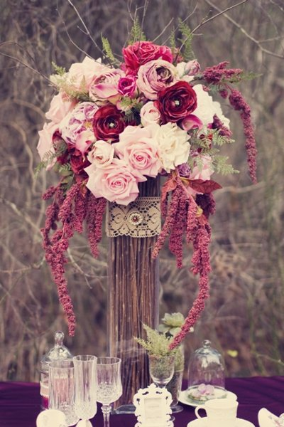 Rustic burgundy pink purple centerpiece wedding flowers