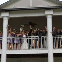 220x220 sq 1430432110281 img0409 bridal party cheering on balcony