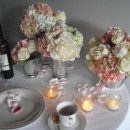 130x130 sq 1370215982075 soft pink hydrangeas roses  peonies in silver container