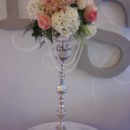 130x130 sq 1400021843390 pink centerpiece with pearls on candelabr
