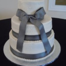 Wedding Cake at Molon Lave Vineyard on 6/21/13 3-Tier Wedding Cake w/Gray ribbon and bow