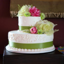 130x130 sq 1415301559938 green white wedding cake 2 tier