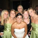 "Real Bride Alicia with her bridesmaids wearing the ""Illusion"" necklaces and matching earrings. Bride: Alicia"