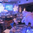 Winter Wonderland with White Ostrich Feather centerpiece on our Light Blue Taffeta with a White Passion Vine Organza Overlay