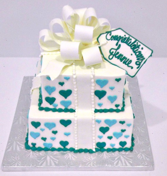 1372078215287 Baby Shower   Congratulations With Blue Hearts And Bow G Danvers wedding cake