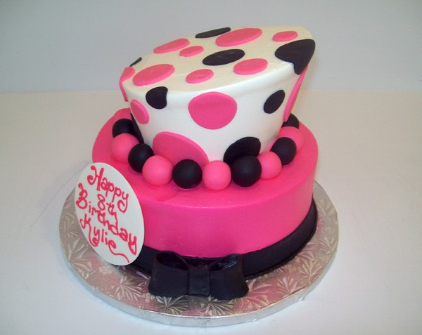1372078574686 Pink And Black Topsy Turvy E Danvers wedding cake
