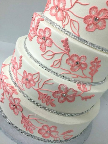 1478710973971 Coral Lace And Bling Danvers wedding cake