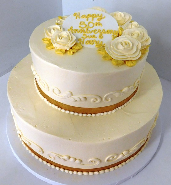 1478715771560 Tan Flower 50th Anniversary B  Ribbon Danvers wedding cake