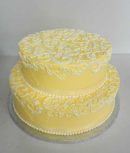 1478715863326 Yellow 2 Tier G Danvers wedding cake