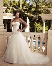 Style: 2109 Fit and flare silhouette with an Iridescent Organza ruched bodice. Sweetheart neckline with beaded appliqués on front and back bodice. Faux beaded buttons along the zipper.
