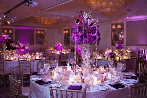 Purple Centerpieces Chairs Place Settings Wedding
