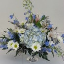 130x130 sq 1474912649331 blue delphinium and white rose pedistal centerpiec