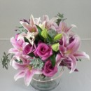 130x130 sq 1474913446615 pink lily and rose centerpiece 92016