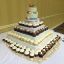 130x130 sq 1416587337690 white chocolate sea shell beach cake with cupcakes