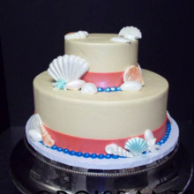 220x220 sq 1388426447352 coral  blue shell wedding cake cop