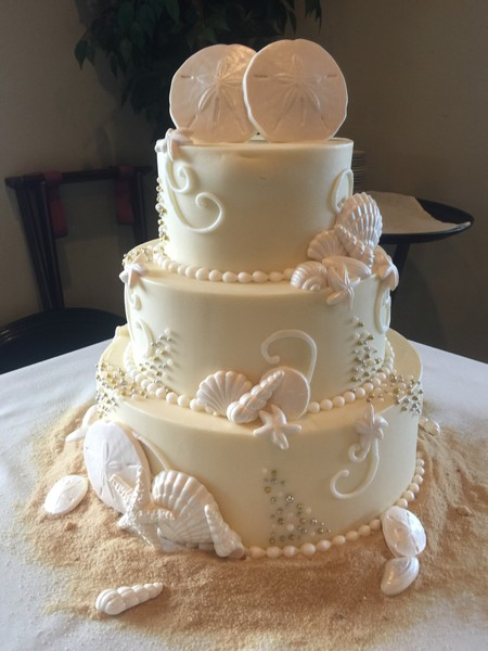 elegant beach themed wedding cakes croissants bistro amp bakery myrtle sc wedding cake 13956