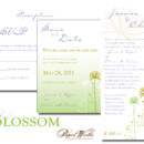 Delicate flower outlines and a light color palette create a unique balance for this wedding invitation.