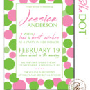 Perfect for a informal bridal shower, the polka dot invitation can be customized with the bride's favorite colors!