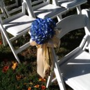 130x130 sq 1381113870043 cobalt blue hydrangea with bows for ceremony chairs