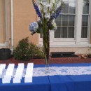 130x130 sq 1381114222129 tall hydrangea and delphinium arrangment for welcome table