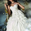 JH8105 Ivory Silk Chiffon bias ruffle A-line bridal gown, strapless draped bodice, natural waist accented with floral crystal detail, sweep train.