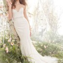 Style jh8410  Ivory Champagne Chantilly lace Fit and Flare bridal gown, strapless sweetheart neckline, crystal embroidered belt at natural waist, gored skirt, chapel train