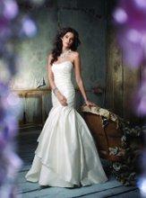 JH8103 Ivory Silk Shantung asymmetrical draped A-line bridal gown, strapless neckline, three tiered irregular hem, chapel train. Crystal embroidered chiffon neck piece with satin ribbon.