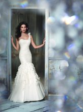 JH8108 Ivory Silk Organza Trumpet bridal gown, one shoulder draped elongated bodice, chiffon, lace and crystal cascade skirt, chapel train.
