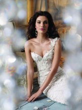 JH8109 Ivory Alencon lace over Champagne Charmeuse modified A-line bridal gown, one shoulder sweetheart neckline accented with crystal detail, embroidered crystal lace bodice, sweep train.