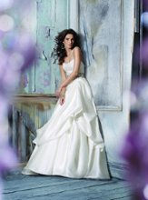 JH8110 Ivory Silk Faced Satin Organza bridal Ball gown, strapless Alencon lace bodice, Champagne moire ribbon accented with floral crystal detail, pick-up skirt, chapel train.