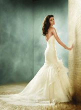 JH8151 Ivory Silk Organza strapless irregular tiered fit and flare bridal gown, asymmetrical draped elongated bodice accented with floral detail, chapel train. Available in White or Ivory.