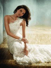 JH8160 Ivory Alencon lace over Champagne Charmeuse A-line bridal gown, one shoulder neckline with organza and lace bias cut detail, sweep train. Available in Solid White or Solid Ivory