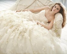 JH8217 Ivory Chiffon and Organza floral embroidered bridal ball gown, strapless Alencon lace bodice with curved neckline, drop waist, chapel train.