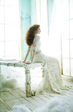 JH8211 Ivory Alencon Lace over Champagne Charmeuse modified A-line bridal gown, sweetheart neckline, three quarter sleeve, natural waist accented with crystal belt, open back, sweep train.