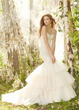 Jim Hjelm Ivory over Champagne Charmeuse Tulle bridal gown, strapless beaded Alencon lace elongated bodice, circular tiered tulle skirt with beaded appliques, chapel train  8302