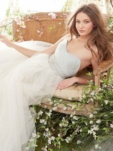Style jh8415  Ivory/Cloud Tulle Bridal Ball gown, strapless sweetheart crisscross bodice, crystal embroidery at waist, chapel train