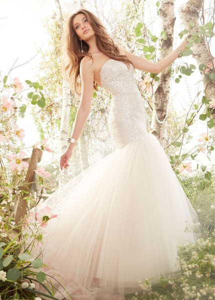 Style jh8416	<br>	Blush Tulle Fit and Flare bridal gown, strapless sequins embroidered elongated bodice, chapel train