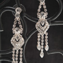 Drop style earrings with heart pattern and fringe style crystal droplet