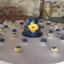 130x130 sq 1474476766220 blue and yellow cake with cupcakes