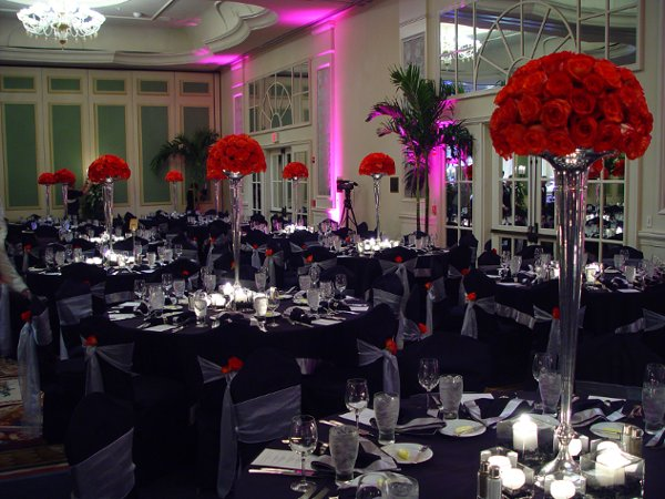 Black Red White Centerpieces Chairs Indoor Reception