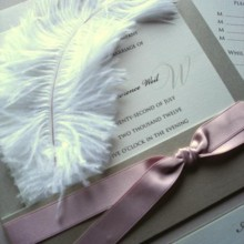 220x220 sq 1394752138484 feathered wedding invitation with pink ribboncreat