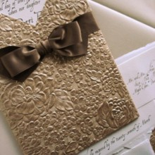220x220 sq 1394752148861 gold embossed wedding invitation with ribboncreati