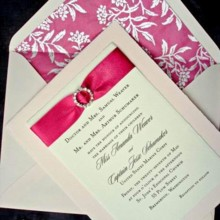 220x220 sq 1394752158208 pink ribboned wedding invitation 1creative wedding