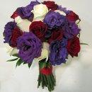 130x130 sq 1341975953783 purplelisianthusredandwhiteroses500